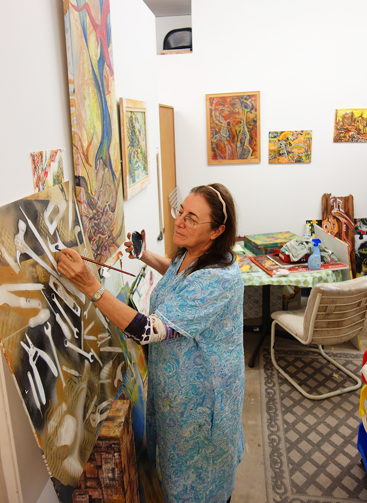 Lynn Baskind in the studio